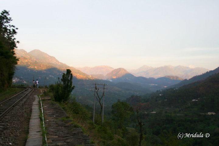 Walking toward Solan at sunset.