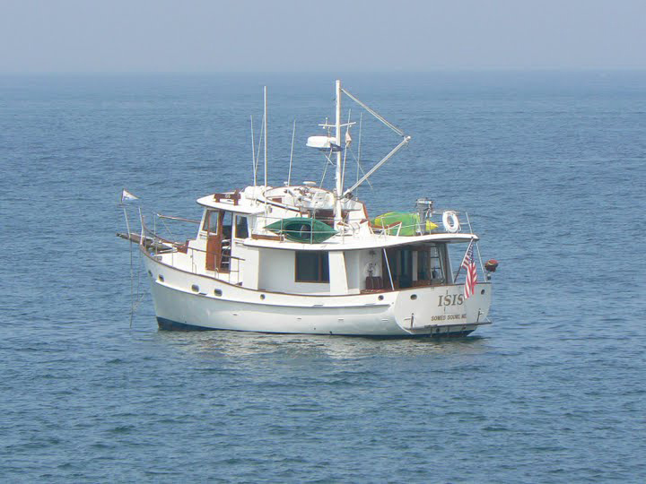 The motor vessel Isis, anchored in Oak Bluffs. Photo by Max Hartshorne.