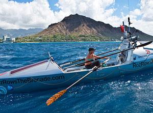 Roz Savage rowing off the coast of Hawaii. Photo: Roz Savage.com