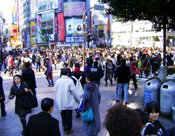 Shibuya crossing. Always this busy. Featured in 'Lost in Translation'.