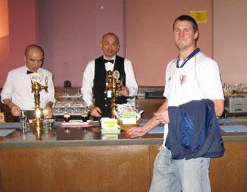 Getting served by some classy gentlemen. Yebisu Beer Museum.