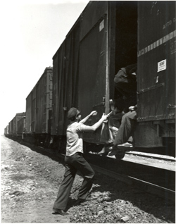 Hopping a freight. photo courtesy the National Heritage Museum.