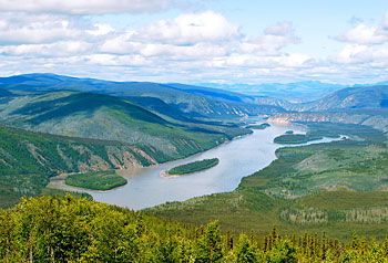 An aerial view of the Yukon River, the site of the  longest canoe and kayak race in the world.