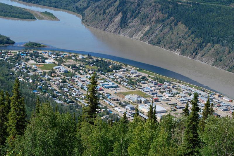 A bird's-eye view of Dawson City in Canada's  Yukon Territory