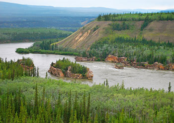 The Five Finger Rapids as seen from the Klondike Highway