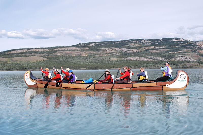 A voyager on the Yukon River in Canada's Yukon Territory
