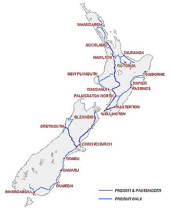 Map of New Zealand's scenic railways.