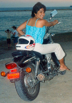 The author and her trusty motorbike.