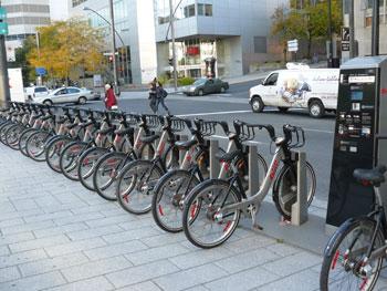 A solar-powered Bixi bike node in Montreal