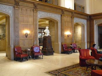The lobby of the Chateau Laurier in Ottawa, known as the Third House of Parliament