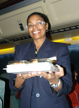 Luz Raquel, originally from the Dominican Republic, was our stewardess. She used to work for an airline, but says she prefers working on terra firma.