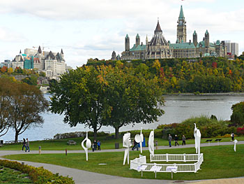 The view from the National Gallery of Canada. The Houses of Parliament are on the right and the Chateau Laurier is on the left.