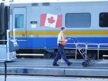 A porter at the Ottawa Via Rail Station