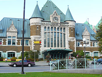 The Via Rail Station in Quebec, built in the style of the Chateau Frontenac