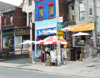 Shops in Kensington Market, a distintive multicultural neighborhood in Toronto