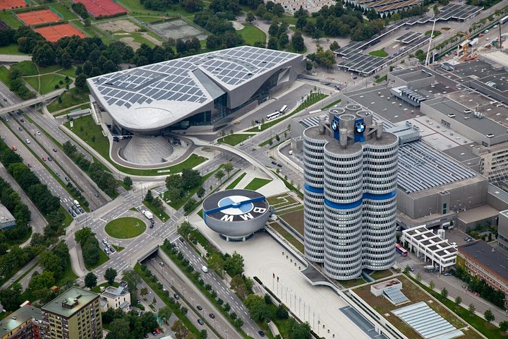 Aerial view of the massive BMW World, part shopping mall and part museum.