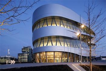 The tornado-shaped Mercedes Benz Museum in Stuttgart.