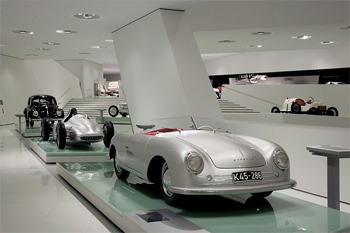 Inside the Porsche Museum in Stuttgart.