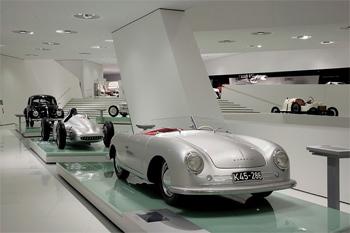 Inside the Porsche Museum in Stuttgart.