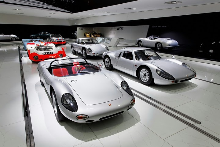 Porsche cars on display at the Porsche Museum in Stuttgart.