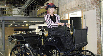 Bertha Benz, immortalized in the museum and history's first woman driver.