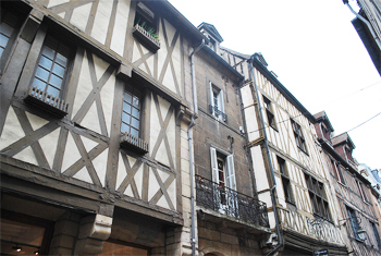 Medieval half-timbered houses line the streets of Dijon, France. photos by Sony Stark.
