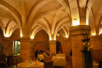 Inside the La Dame Aquitaine restaurant, which is in a former crypt in downtown Dijon.