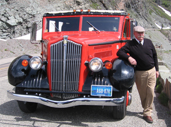Joe's been driving the Red Buses at Glacier for 40 years. photos by Shady Hartshorne.