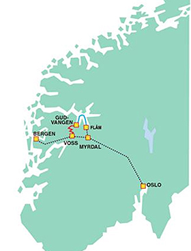 The route of Norway in a Nutshell bus, train and ferry trip.