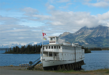 The MV Tarahne, a retired 1917 gas-powered lake cruiser sits on the waterfront in Atlin