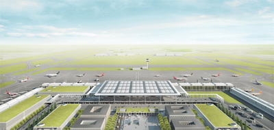 A rendering of Berlin's Brandenburg Airport in action.