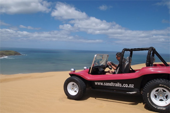 Andrew Kendall in his dune buggy.
