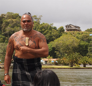 Maori man explains his tattoos, which are maps of the area where he grew up.