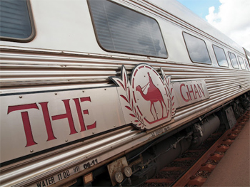 The side of the famous Ghan Railway with its distinct 'camel and handler' logo.