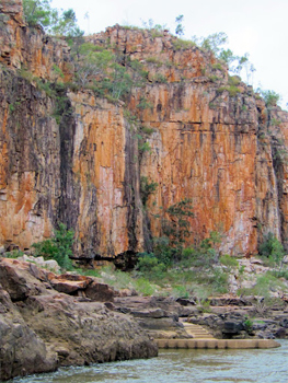 Rocky escarpments many millions of years old as seen during the river cruise with Nitmiluk Tours