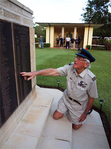 Brian Winspear by the Northern Territory Memorial to the missing at Adelaide River War Cemetery.