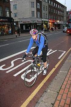 Biking in London is becoming more popular.