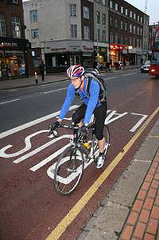 Biking in London is becoming more popular.