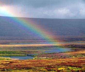 A fall rainbow near Nome, Alaska.