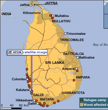 Map of Sri Lanka from BBC news.