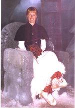 Katja in an ice chair at her wedding in the Ice Hotel in Sweden. Photo from http://hometown.aol.com/KatjaHoglund/