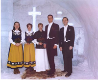 The chapel outside the entrance of the Ice Hotel in Sweden. Photo from http://hometown.aol.com/KatjaHoglund/