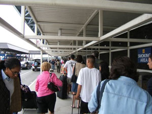 Los Angeles' LAX, showing the long lines of travelers. Photo by Kent E. St. John.