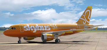 One of Skybus Airlines' 14 A-319 jets. The A-319 carries 144 passenbers. Photo courtesy of Skybus.com