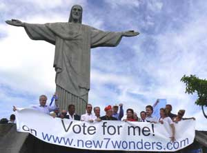 The statue of Christ the Redeemer gets a boost from supporters during the worldwide balloting for the new Seven Wonders of the World. Photos courtesy of New7Wonders.com and G.A.P Adventures