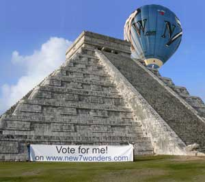 The New7Wonders balloon visits Chechen Itza.