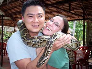 Kelly and Quang with a python