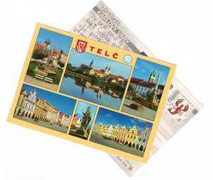 Postcards from the Czech Republic I penned to myself. On the back of one I wrote: 'Sitting in garden of Italian restaurant and flying ants keep falling on me. I just found a wing on my shoulder. There's an ant on my paper. They're beginning to fall with more frequency. I'm getting the check. I'm wearing red shoes.'