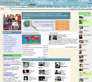 A screenshot of CouchSurfing.com