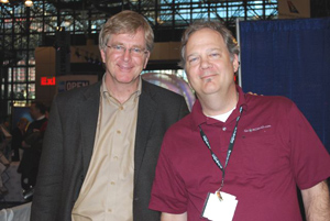 Rick Steves and Max Hartshorne at the NY Times Travel Show in February 2009.